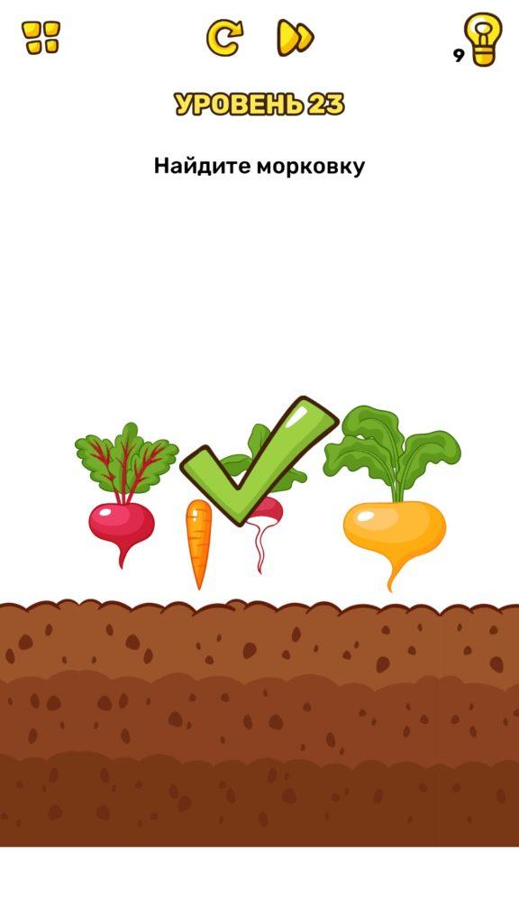 Найдите морковку. 23 уровень Brain Blow
