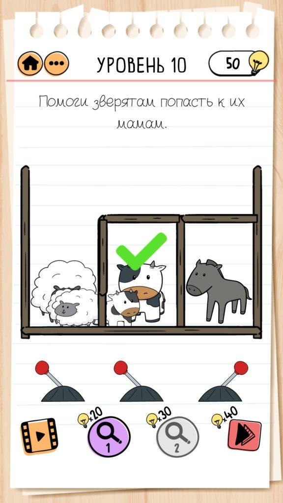 Помоги зверятам попасть к их мамам. 10 уровень Brain Test 2
