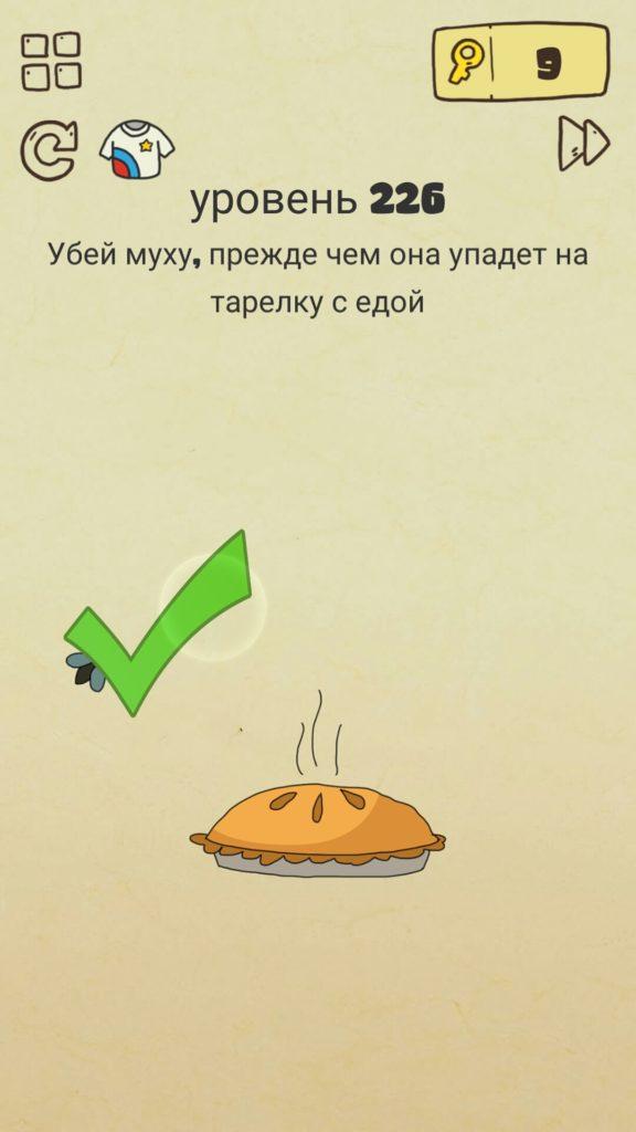 Убей муху, прежде чем она упадет на тарелку с едой. 226 уровень Brain Crazy