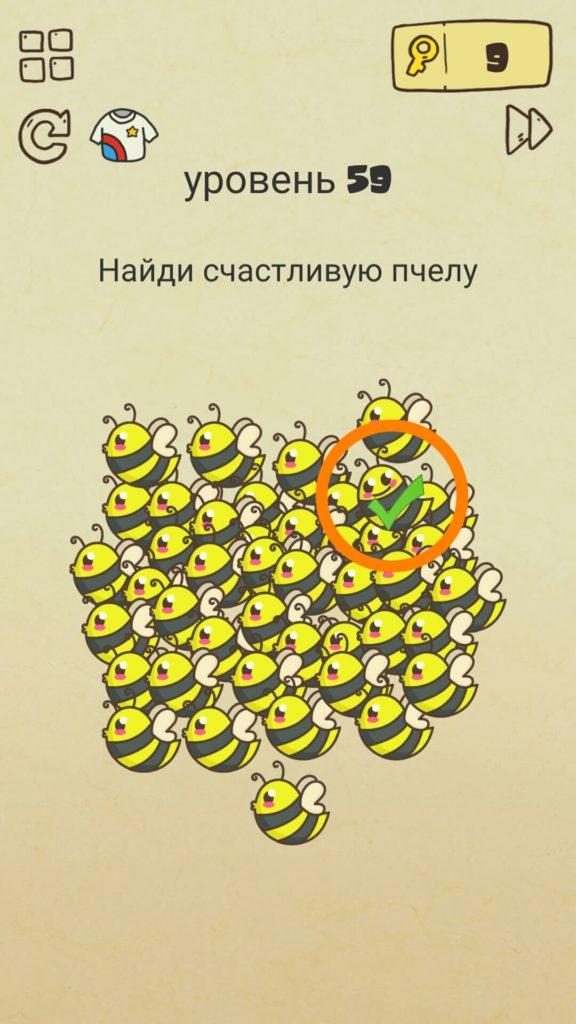 Найди счастливую пчелу. 59 уровень Brain Crazy