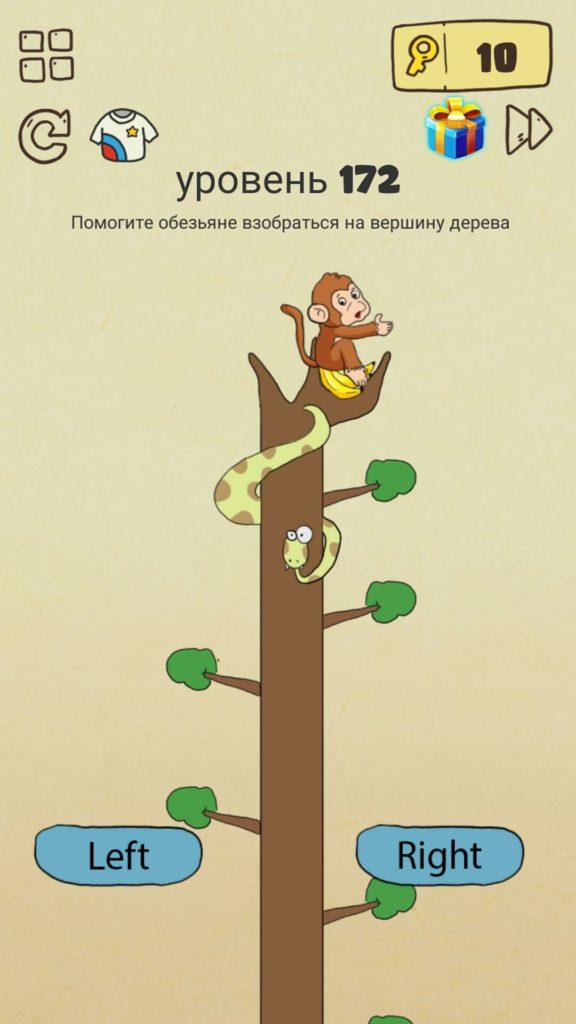 Помогите обезьяне взобраться на вершину дерева. 172 уровень Brain Crazy